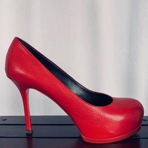 Yves Saint Laurent Trib 80 Red Leather Platform